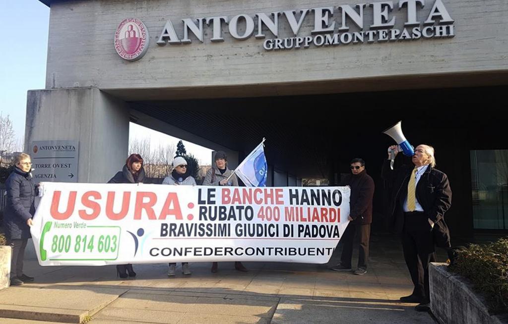 Alfredo Belluco manifesta contro Npl e usura