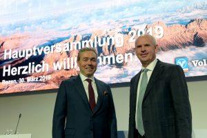 Da sx Presidente Volksbank Otmar Michaeler, Direttore generale Johannes Schneebacher