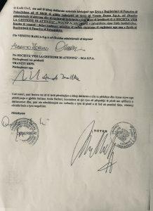 L'ultima pagina della dichiarazione raccolta dal notaio Alket Manka per Veneto Banca in Lca e Sga spa