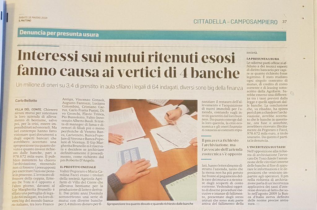 Articolo su processo contro l'usura de Il mattino di Padova del 18 maggio