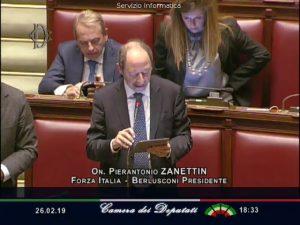 Pierantonio Zanettin in un suo intervento alla Camera