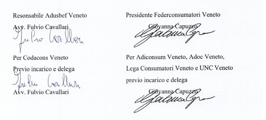 Firmatari in calce alla lettera a Consap per il FIr delle associazioni del CNCU venete