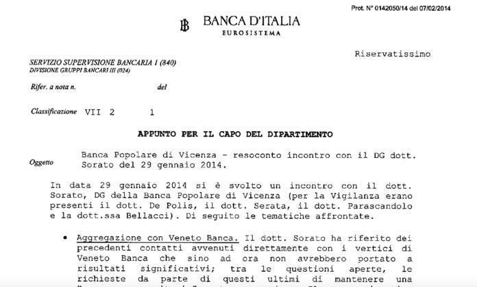 APPUNTO PER IL CAPO DEL DIPARTIMENTO Riservatissimo Oggetto Banca Popolare di Vicenza - resoconto incontro con il DG dott. Sorato del 29 gennaio 2014.